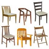 Insieme della sedia di legno su bianco Immagine Stock Libera da Diritti