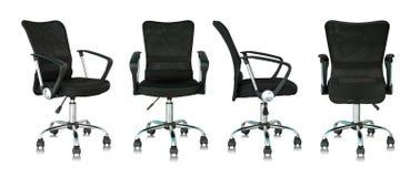 Insieme della sedia nera dell'ufficio su fondo bianco Fotografia Stock Libera da Diritti