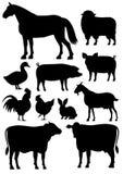 Insieme della siluetta degli animali da allevamento royalty illustrazione gratis