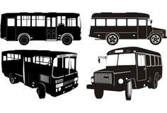 Insieme della siluetta del bus della città Immagini Stock Libere da Diritti