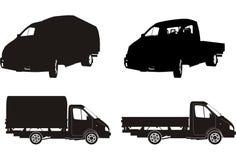 Insieme della siluetta del camion di vettore Fotografia Stock Libera da Diritti