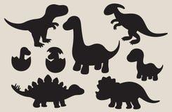 Insieme della siluetta del dinosauro Fotografie Stock