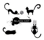 Insieme della siluetta del ` s del gatto nero Fotografie Stock Libere da Diritti