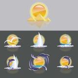 Insieme della siluetta del sole, dei delfini, del mare e della barca a vela illustrazione di stock