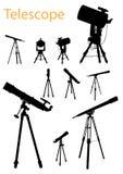 Insieme della siluetta del telescopio Fotografia Stock