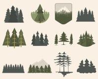 Insieme della siluetta dell'albero forestale illustrazione vettoriale