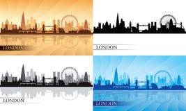 Insieme della siluetta dell'orizzonte della città di Londra Fotografie Stock Libere da Diritti