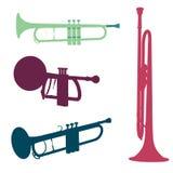 Insieme della siluetta della tromba Fotografia Stock Libera da Diritti