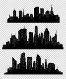 Insieme della siluetta delle città di vettore Fotografia Stock