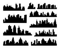 Insieme della siluetta delle città di vettore Icone nere della città su fondo bianco Fotografie Stock