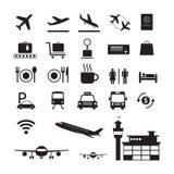 Insieme della siluetta delle icone e di simboli dell'aeroporto Fotografie Stock