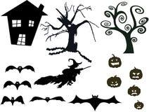 Insieme della siluetta di Halloween Fotografia Stock