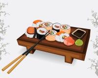 Insieme della specie differente dei sushi giapponesi Fotografia Stock Libera da Diritti