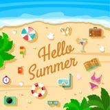 Insieme della spiaggia di estate delle icone di vettore Fotografia Stock