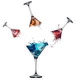 Insieme della spruzzata del cocktail isolato su fondo bianco Immagini Stock Libere da Diritti