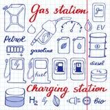 Insieme della stazione di servizio Raccolta disegnata a mano del fumetto delle icone della benzina - rifornisca, può, segnale str royalty illustrazione gratis