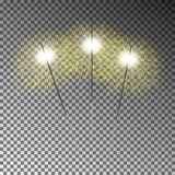 Insieme della stella filante di Natale Luce di Bengala trasparente su dar Fotografie Stock