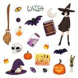 Insieme della strega di Halloween illustrazione vettoriale