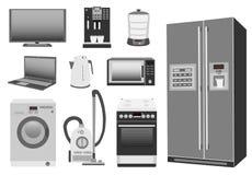 Insieme della stufa di cucina colorata degli elettrodomestici, frigorifero, microonda, lavatrice, aspirapolvere, bollitore elettr Fotografia Stock Libera da Diritti