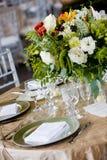Insieme della tabella di cerimonia nuziale per un evento approvvigionato Fotografia Stock