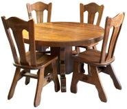 Insieme della tabella di cucina di legno solido, isolato Fotografia Stock Libera da Diritti