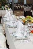 Insieme della Tabella per il partito di evento o la celebrazione di ricevimento nuziale Fotografia Stock