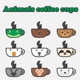 Insieme della tazza degli animali del caffè Immagini Stock