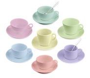 Insieme della tazza di caffè differente su bianco Fotografia Stock
