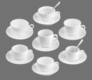 Insieme della tazza di caffè differente sul nero Fotografia Stock Libera da Diritti