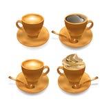 Insieme della tazza di caffè realistica isolata. Fotografia Stock Libera da Diritti