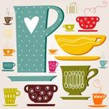 Insieme della tazza di colore. carta da parati. Immagine Stock