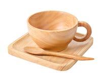 Insieme della tazza di legno per caffè caldo Fotografia Stock