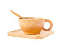 Insieme della tazza di legno per caffè caldo Fotografie Stock Libere da Diritti