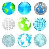 Insieme della terra e del globo Fotografie Stock Libere da Diritti