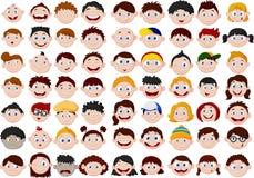 Insieme della testa dei bambini del fumetto Fotografia Stock