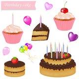 Insieme della torta di compleanno Fotografia Stock