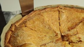 Insieme della torta della mela e della banana di cottura della donna a casa stock footage