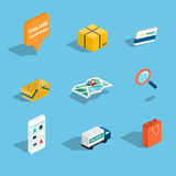 Insieme della vendita e delle icone isometriche piane di compera 3d Illustr di vettore Immagine Stock