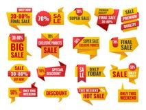 Insieme della vendita e migliori distintivi ed etichette Choice Fotografia Stock