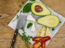 Insieme della verdura e del formaggio Fotografia Stock