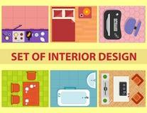 Insieme della vista di interior design da sopra Fotografia Stock