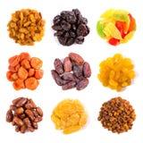 Insieme della vista superiore secca di frutti Fotografia Stock