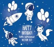 Insieme della volpe sveglia con i palloni, gli astronauti ed il razzo nello spazio per la festa di compleanno nello stile cosmico royalty illustrazione gratis