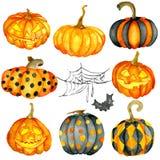 Insieme della zucca di Halloween dell'acquerello illustrazione di stock