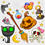 Insieme della zucca e degli attributi di Halloween illustrazione vettoriale