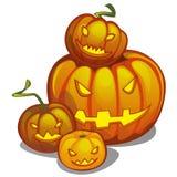 Insieme della zucca matura con gli occhi e la bocca scolpiti, Jack-o-lanterne Attributo della festa di Halloween Schizzo per illustrazione vettoriale