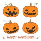 Insieme della zucca per Halloween lanterna della O (di Jack ') in vari stili Fotografia Stock