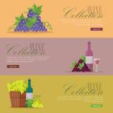 Insieme delle alette di filatoio per le collezioni del vino dell'elite royalty illustrazione gratis