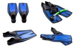 Insieme delle alette di nuotata blu, maschera, presa d'aria Fotografia Stock Libera da Diritti