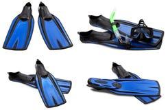 Insieme delle alette di nuotata, della maschera e della presa d'aria blu per tuffarsi Immagine Stock